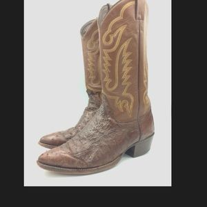 Justin Full Quill Ostrich Leather Cowboy Boots